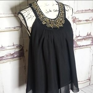 NWT Blouse Gold embellished top Missy Sleeveless